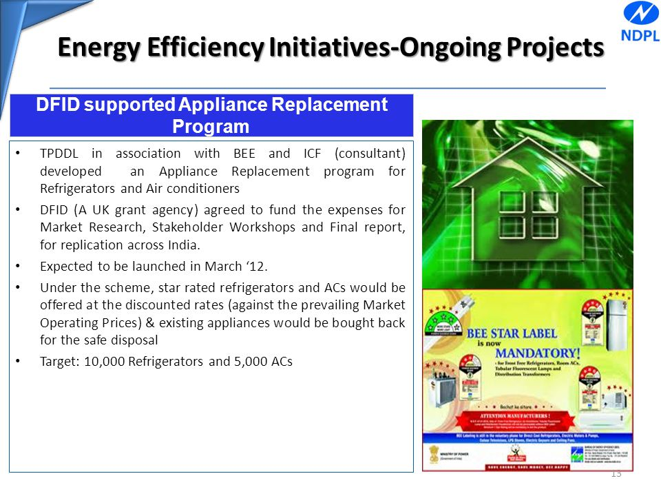 Energy Efficiency Initiatives-Ongoing Projects TPDDL in association with BEE and ICF (consultant) developed an Appliance Replacement program for Refri