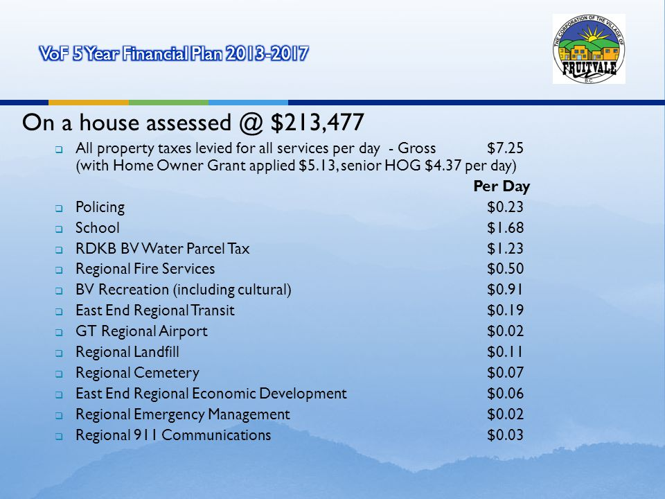On a house assessed @ $213,477 All property taxes levied for all services per day - Gross $7.25 (with Home Owner Grant applied $5.13, senior HOG $4.37 per day) Per Day Policing $0.23 School $1.68 RDKB BV Water Parcel Tax $1.23 Regional Fire Services $0.50 BV Recreation (including cultural) $0.91 East End Regional Transit $0.19 GT Regional Airport $0.02 Regional Landfill $0.11 Regional Cemetery $0.07 East End Regional Economic Development $0.06 Regional Emergency Management $0.02 Regional 911 Communications $0.03