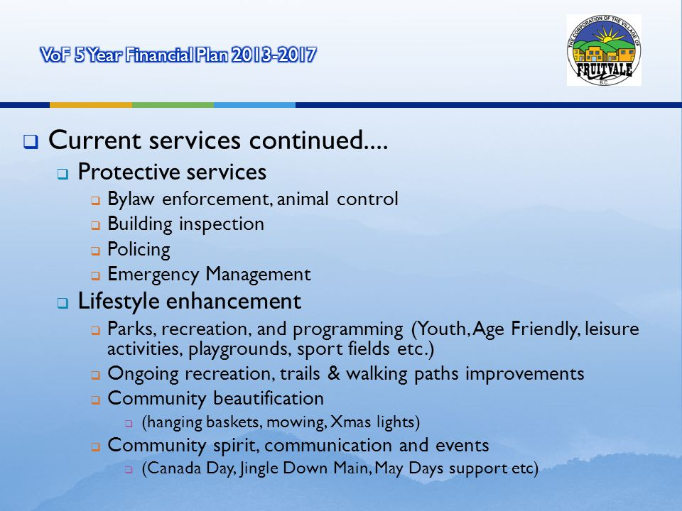 Current services continued....