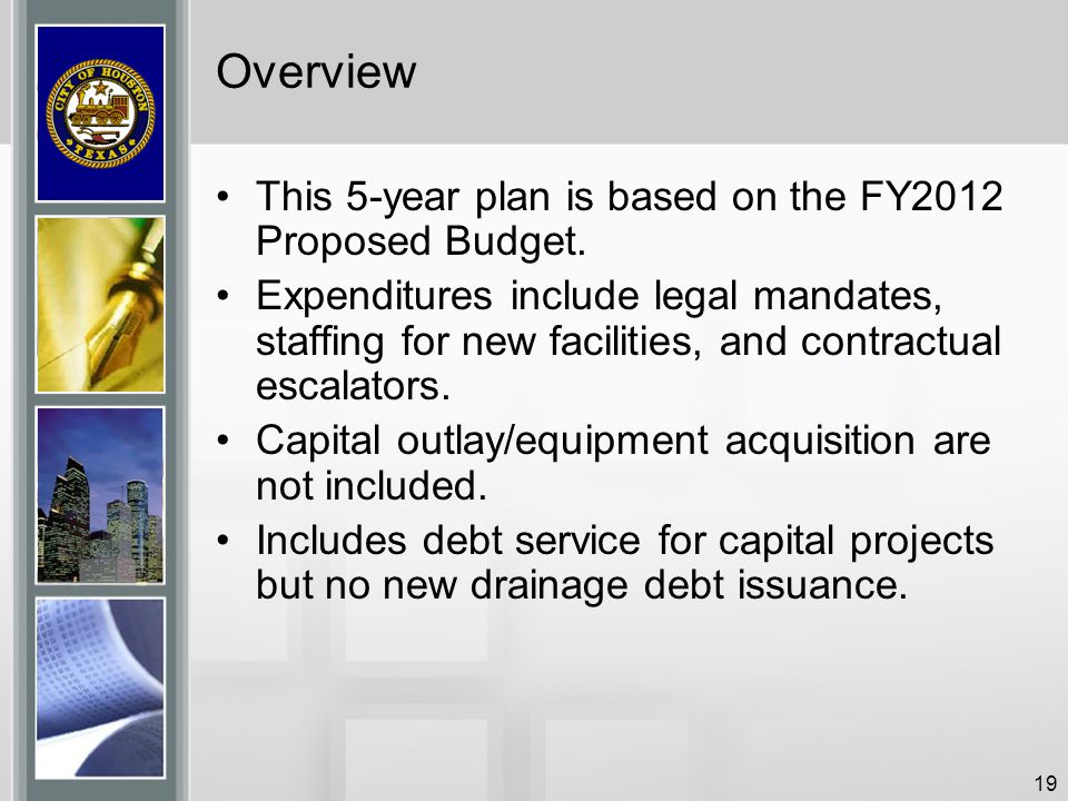 19 Overview This 5-year plan is based on the FY2012 Proposed Budget. Expenditures include legal mandates, staffing for new facilities, and contractual