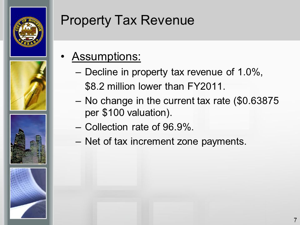 7 Property Tax Revenue Assumptions: –Decline in property tax revenue of 1.0%, $8.2 million lower than FY2011. –No change in the current tax rate ($0.6