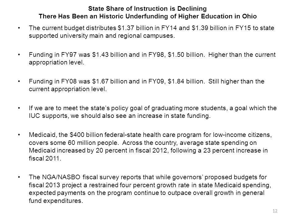 State Share of Instruction is Declining There Has Been an Historic Underfunding of Higher Education in Ohio The current budget distributes $1.37 billi