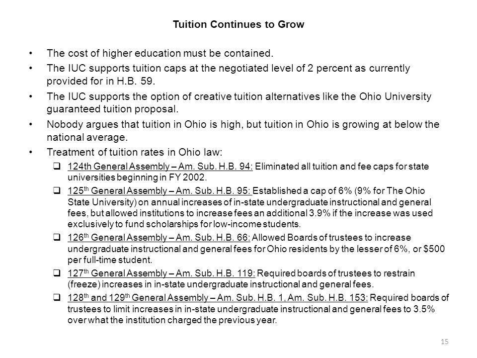 Tuition Continues to Grow The cost of higher education must be contained.