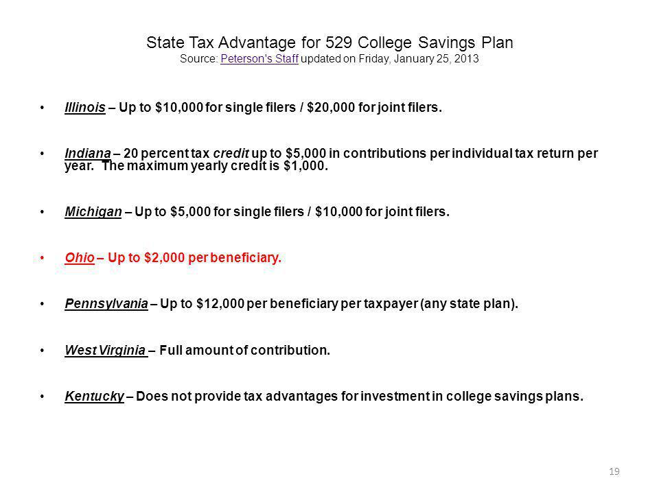 State Tax Advantage for 529 College Savings Plan Source: Peterson's Staff updated on Friday, January 25, 2013Peterson's Staff Illinois – Up to $10,000