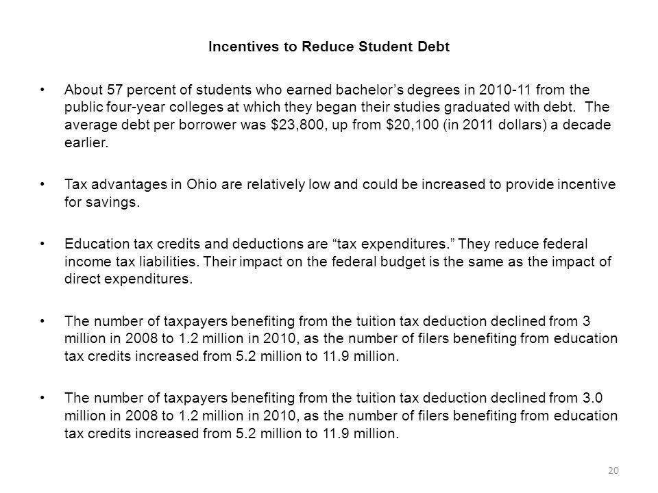 Incentives to Reduce Student Debt About 57 percent of students who earned bachelors degrees in 2010-11 from the public four-year colleges at which the