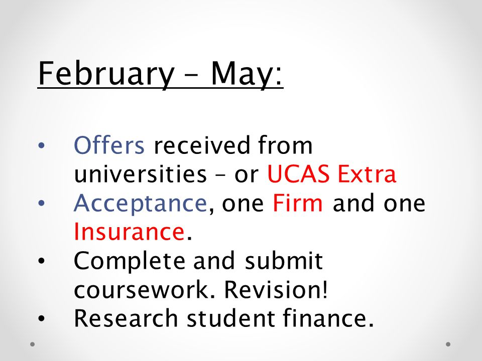 February – May: Offers received from universities – or UCAS Extra Acceptance, one Firm and one Insurance. Complete and submit coursework. Revision! Re