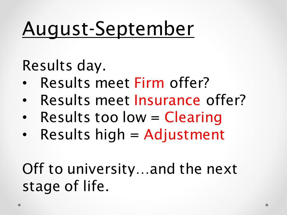 August-September Results day. Results meet Firm offer? Results meet Insurance offer? Results too low = Clearing Results high = Adjustment Off to unive