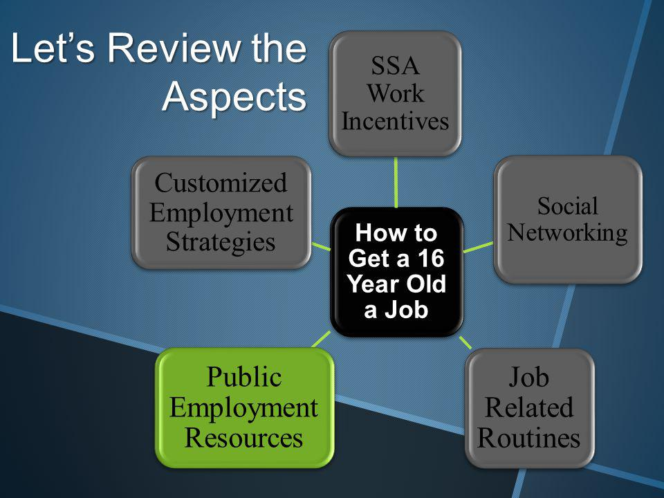 Lets Review the Aspects How to Get a 16 Year Old a Job SSA Work Incentives Social Networking Job Related Routines Public Employment Resources Customized Employment Strategies
