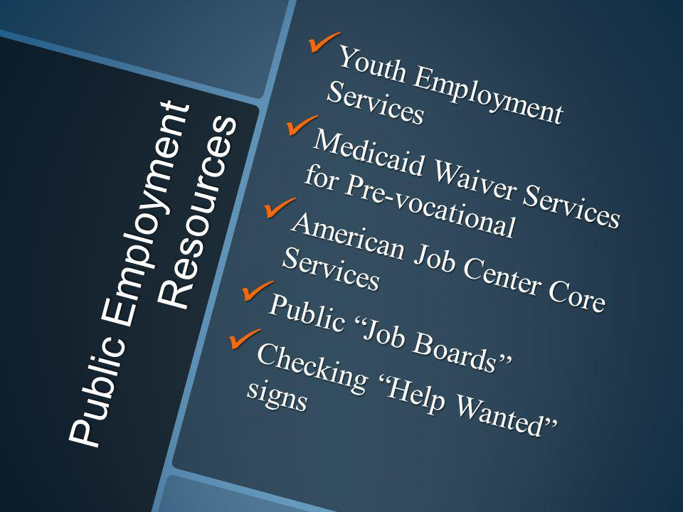 Public Employment Resources Youth Employment Services Youth Employment Services Medicaid Waiver Services for Pre-vocational Medicaid Waiver Services f