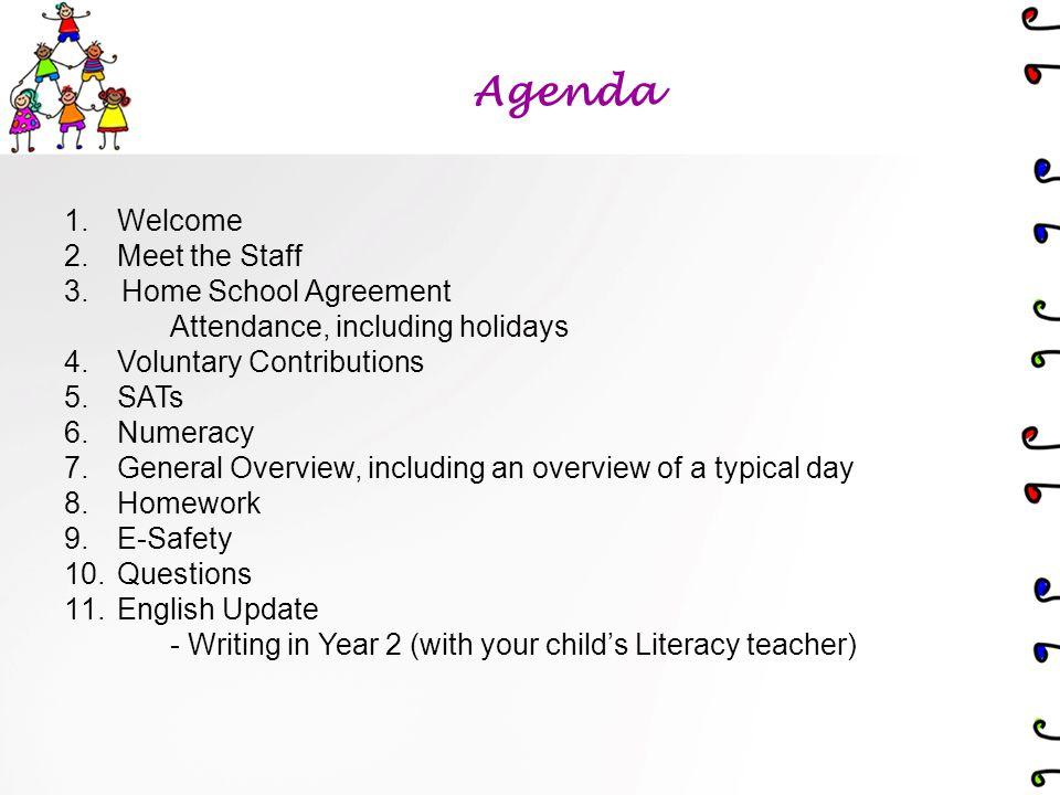 Agenda 1.Welcome 2.Meet the Staff 3.