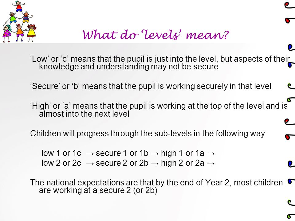 Low or c means that the pupil is just into the level, but aspects of their knowledge and understanding may not be secure Secure or b means that the pupil is working securely in that level High or a means that the pupil is working at the top of the level and is almost into the next level Children will progress through the sub-levels in the following way: low 1 or 1c secure 1 or 1b high 1 or 1a low 2 or 2c secure 2 or 2b high 2 or 2a The national expectations are that by the end of Year 2, most children are working at a secure 2 (or 2b) What do levels mean?