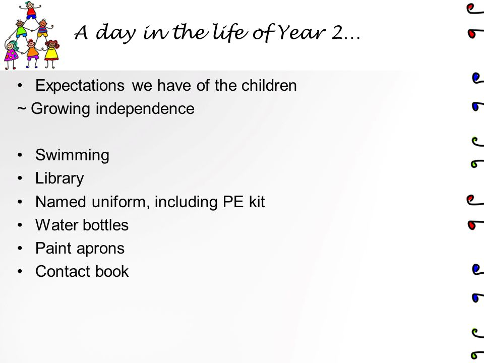 A day in the life of Year 2… Expectations we have of the children ~ Growing independence Swimming Library Named uniform, including PE kit Water bottles Paint aprons Contact book