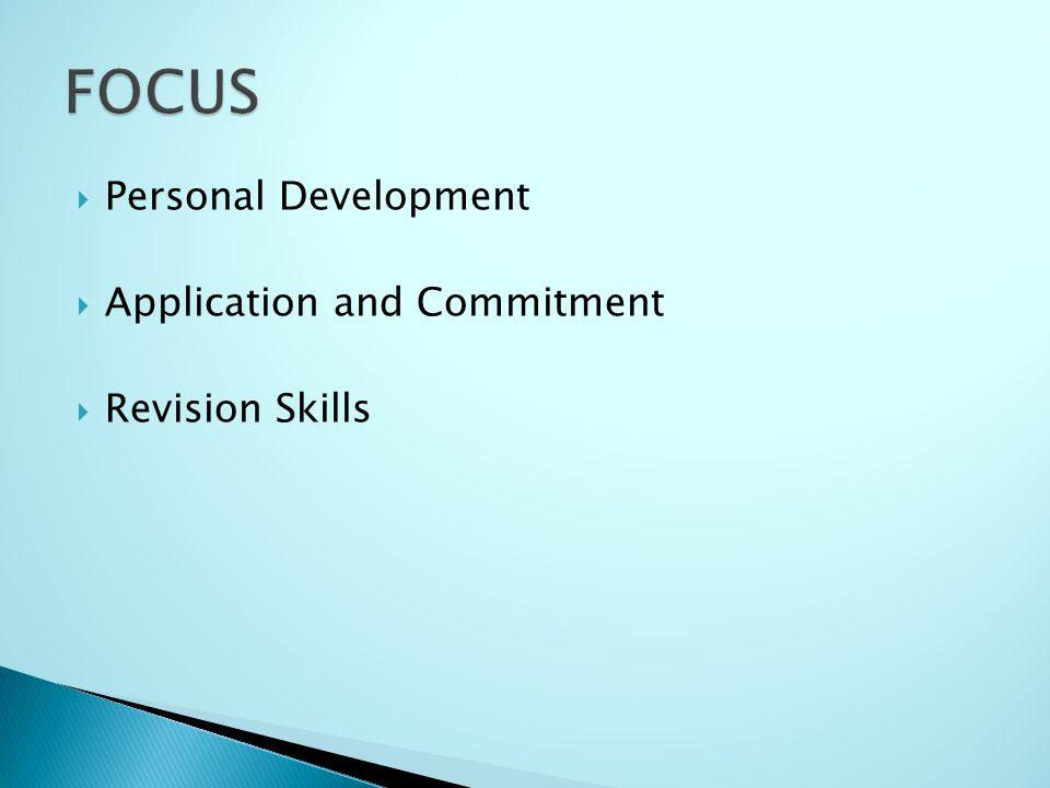 Personal Development Application and Commitment Revision Skills