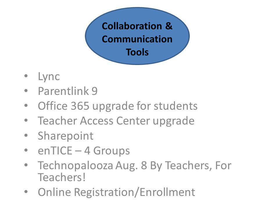 Lync Parentlink 9 Office 365 upgrade for students Teacher Access Center upgrade Sharepoint enTICE – 4 Groups Technopalooza Aug.
