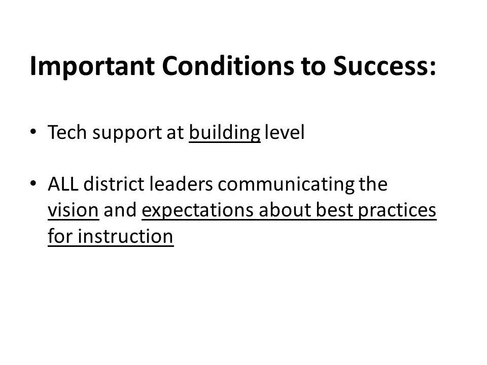 Important Conditions to Success: Tech support at building level ALL district leaders communicating the vision and expectations about best practices fo