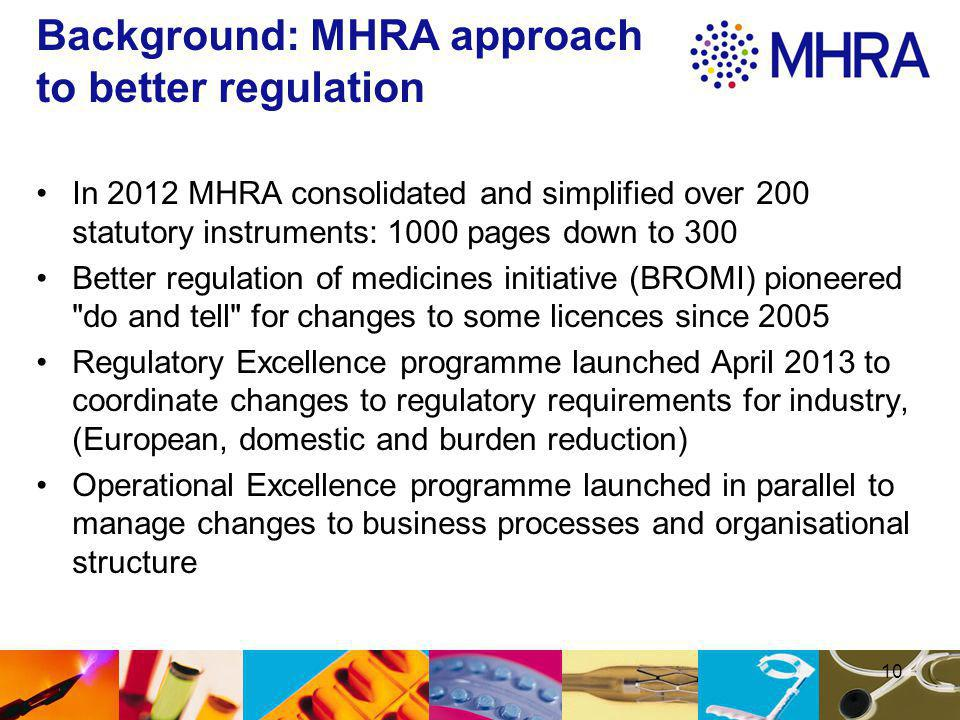 10 Background: MHRA approach to better regulation In 2012 MHRA consolidated and simplified over 200 statutory instruments: 1000 pages down to 300 Better regulation of medicines initiative (BROMI) pioneered do and tell for changes to some licences since 2005 Regulatory Excellence programme launched April 2013 to coordinate changes to regulatory requirements for industry, (European, domestic and burden reduction) Operational Excellence programme launched in parallel to manage changes to business processes and organisational structure