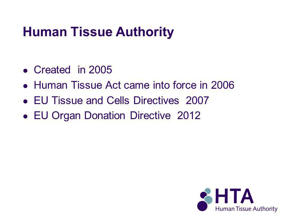 Human Tissue Authority Created in 2005 Human Tissue Act came into force in 2006 EU Tissue and Cells Directives 2007 EU Organ Donation Directive 2012