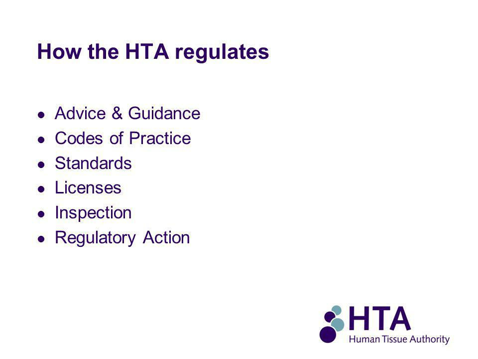 How the HTA regulates Advice & Guidance Codes of Practice Standards Licenses Inspection Regulatory Action