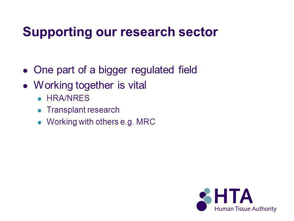 Supporting our research sector One part of a bigger regulated field Working together is vital HRA/NRES Transplant research Working with others e.g.