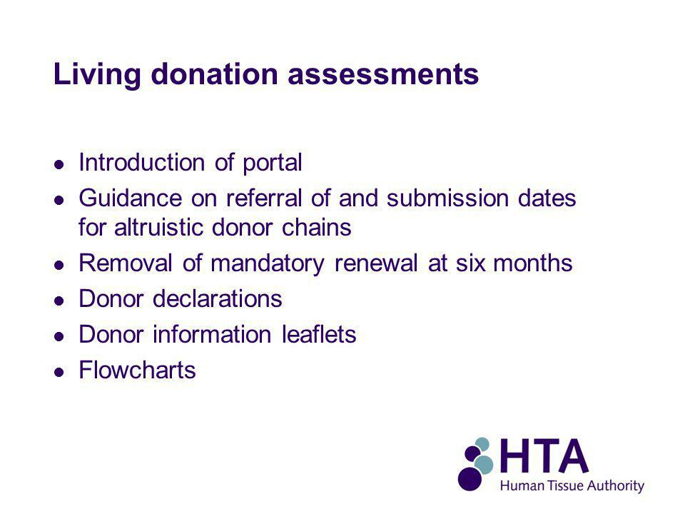 Living donation assessments Introduction of portal Guidance on referral of and submission dates for altruistic donor chains Removal of mandatory renewal at six months Donor declarations Donor information leaflets Flowcharts