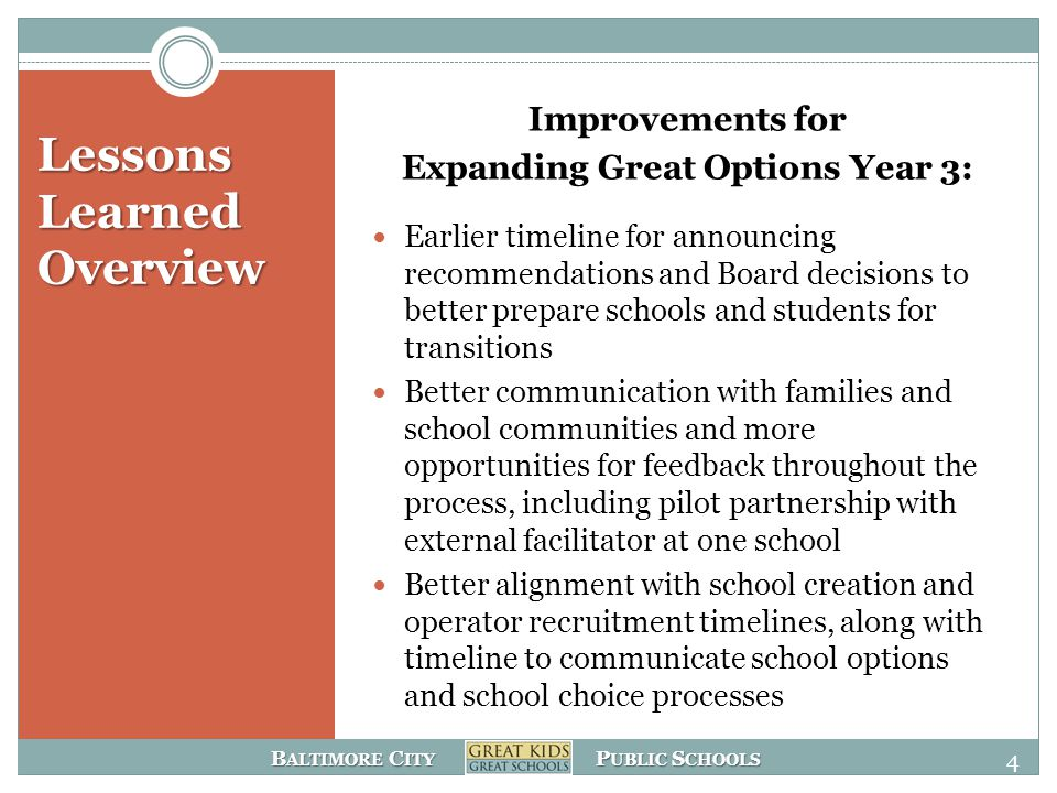 B ALTIMORE C ITY P UBLIC S CHOOLS Please send feedback and questions to: ExpandingGreatOption@bcps.k12.md.us by December 31 st 15