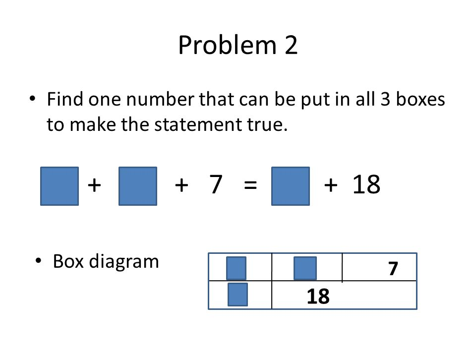 Problem 2 Find one number that can be put in all 3 boxes to make the statement true. + + 7 = + 18 Box diagram 7 18