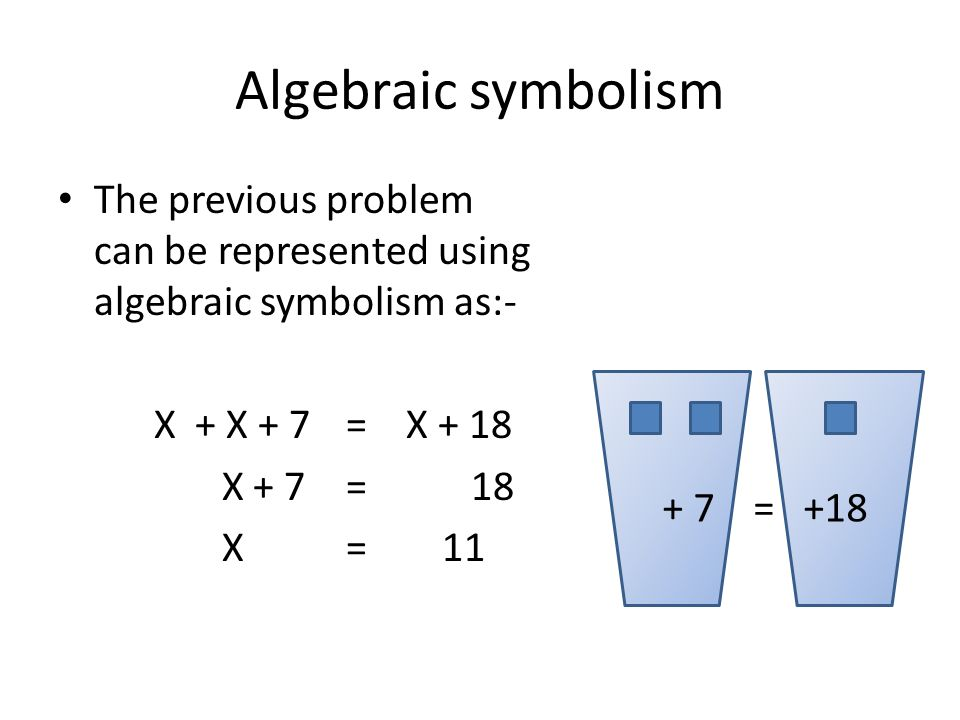 Algebraic symbolism The previous problem can be represented using algebraic symbolism as:- X + X + 7 = X + 18 X + 7= 18 X= 11 + 7 = +18
