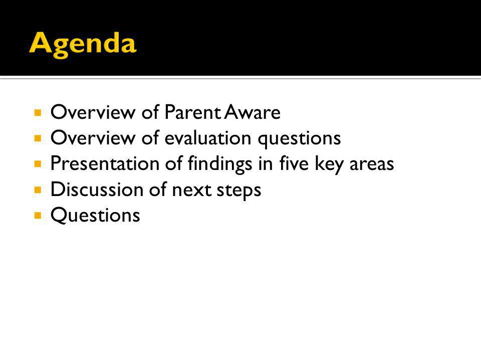 Overview of Parent Aware Overview of evaluation questions Presentation of findings in five key areas Discussion of next steps Questions