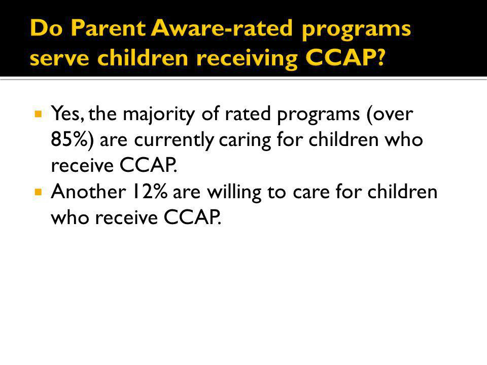 Yes, the majority of rated programs (over 85%) are currently caring for children who receive CCAP. Another 12% are willing to care for children who re