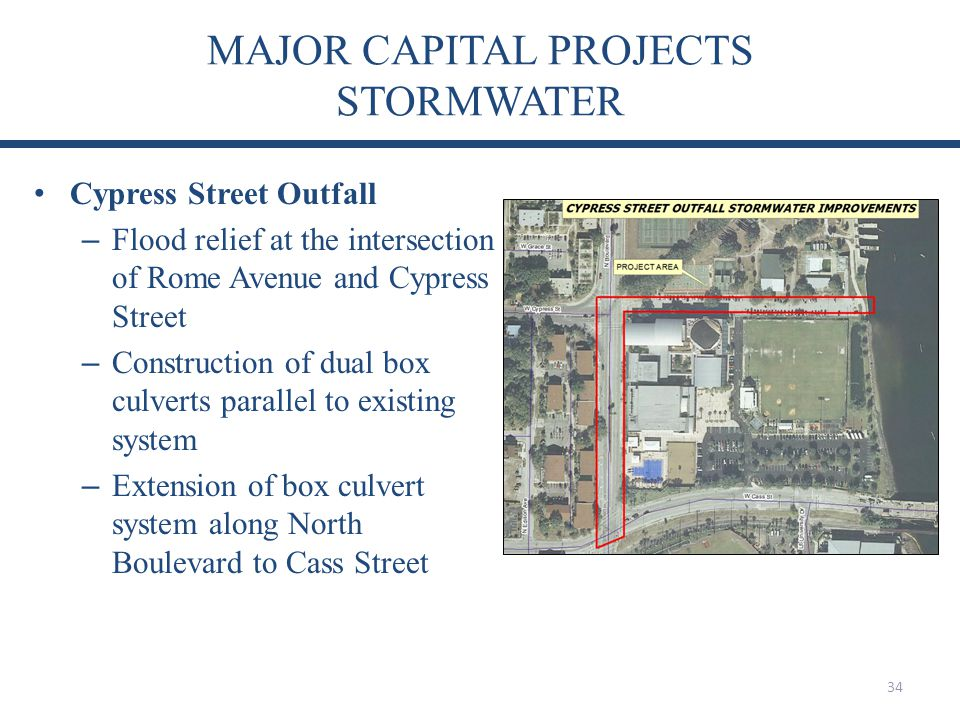 MAJOR CAPITAL PROJECTS STORMWATER 34 Cypress Street Outfall – Flood relief at the intersection of Rome Avenue and Cypress Street – Construction of dual box culverts parallel to existing system – Extension of box culvert system along North Boulevard to Cass Street