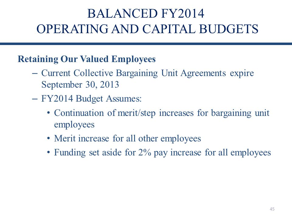 BALANCED FY2014 OPERATING AND CAPITAL BUDGETS Retaining Our Valued Employees – Current Collective Bargaining Unit Agreements expire September 30, 2013