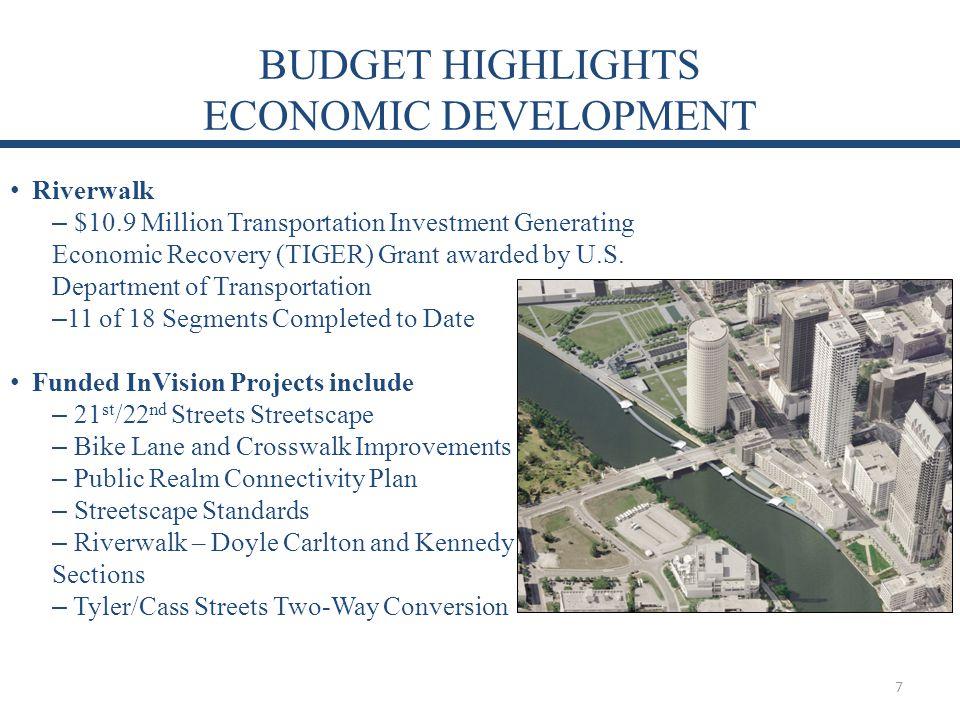 BUDGET HIGHLIGHTS ECONOMIC DEVELOPMENT Riverwalk – $10.9 Million Transportation Investment Generating Economic Recovery (TIGER) Grant awarded by U.S.