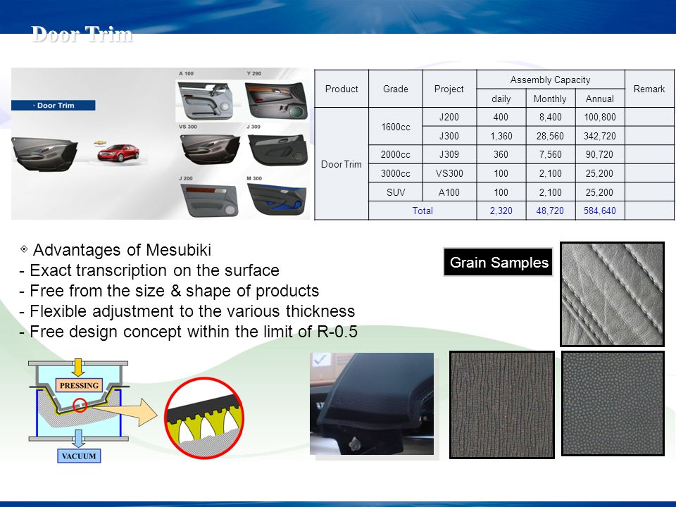 Grain Samples Advantages of Mesubiki - Exact transcription on the surface - Free from the size & shape of products - Flexible adjustment to the variou