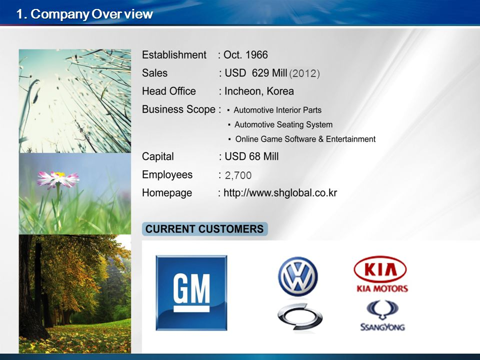 1. Company Over view 2,700 (2012)