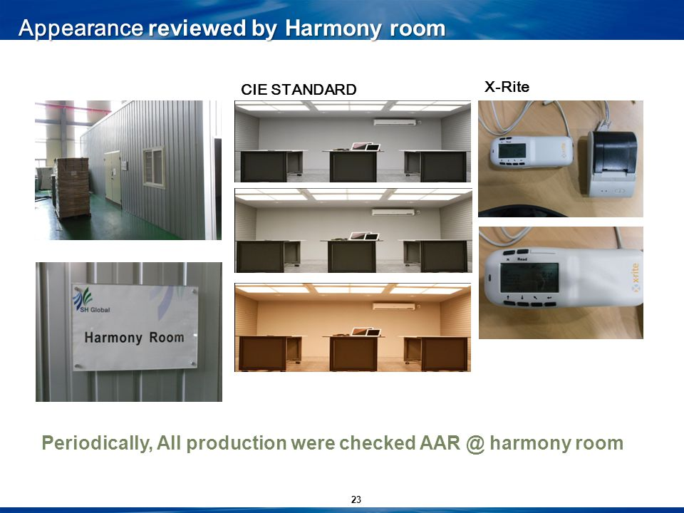 23 Appearance reviewed by Harmony room CIE STANDARD X-Rite Periodically, All production were checked AAR @ harmony room