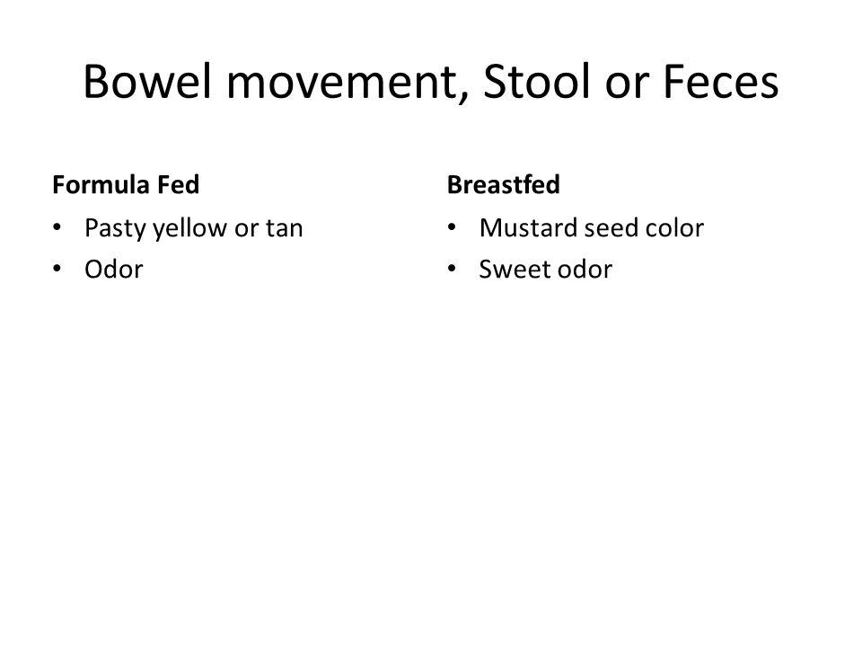 Bowel movement, Stool or Feces Formula Fed Pasty yellow or tan Odor Breastfed Mustard seed color Sweet odor
