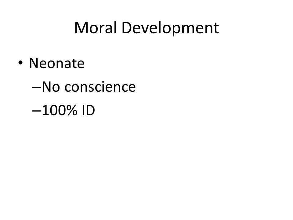 Moral Development Neonate – No conscience – 100% ID