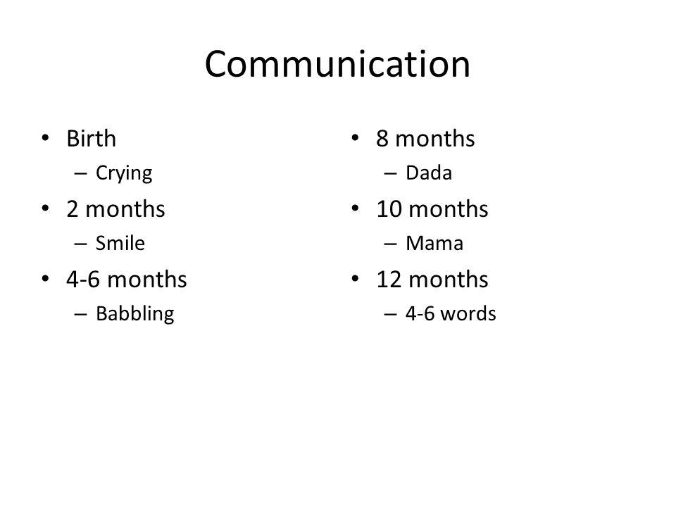 Communication Birth – Crying 2 months – Smile 4-6 months – Babbling 8 months – Dada 10 months – Mama 12 months – 4-6 words