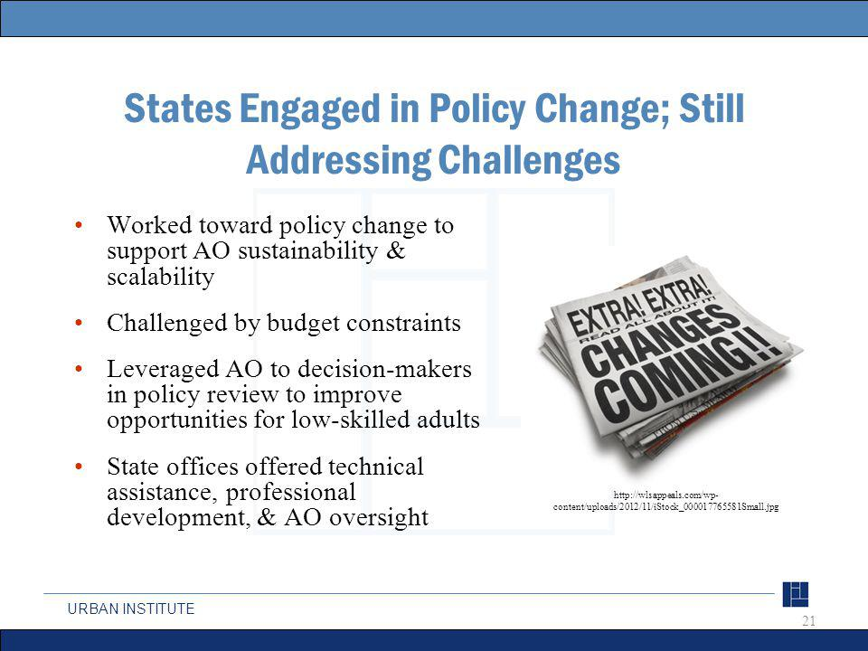 URBAN INSTITUTE States Engaged in Policy Change; Still Addressing Challenges Worked toward policy change to support AO sustainability & scalability Challenged by budget constraints Leveraged AO to decision-makers in policy review to improve opportunities for low-skilled adults State offices offered technical assistance, professional development, & AO oversight 21 http://wlsappeals.com/wp- content/uploads/2012/11/iStock_000017765581Small.jpg