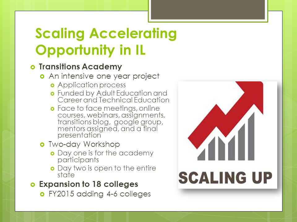 Scaling Accelerating Opportunity in IL Transitions Academy An intensive one year project Application process Funded by Adult Education and Career and
