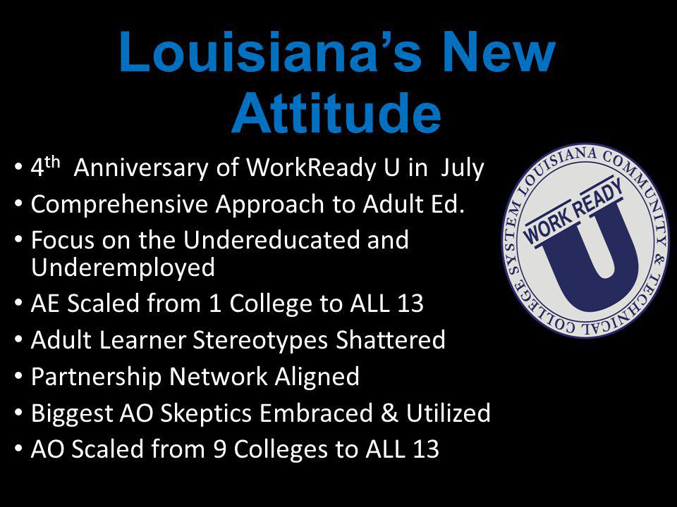Louisianas New Attitude 4 th Anniversary of WorkReady U in July Comprehensive Approach to Adult Ed.