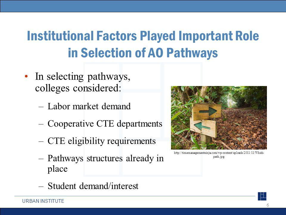 URBAN INSTITUTE Institutional Factors Played Important Role in Selection of AO Pathways In selecting pathways, colleges considered: –Labor market dema