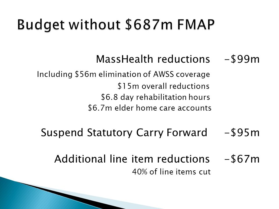 MassHealth reductions -$99m Including $56m elimination of AWSS coverage $15m overall reductions $6.8 day rehabilitation hours $6.7m elder home care accounts Suspend Statutory Carry Forward -$95m Additional line item reductions -$67m 40% of line items cut