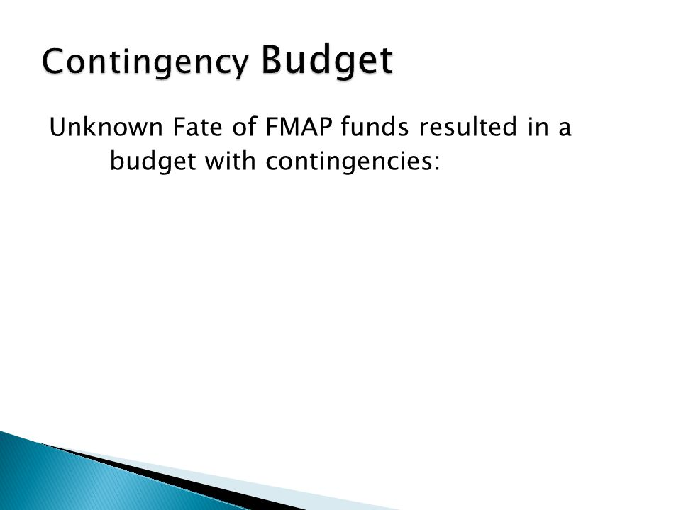 Unknown Fate of FMAP funds resulted in a budget with contingencies: