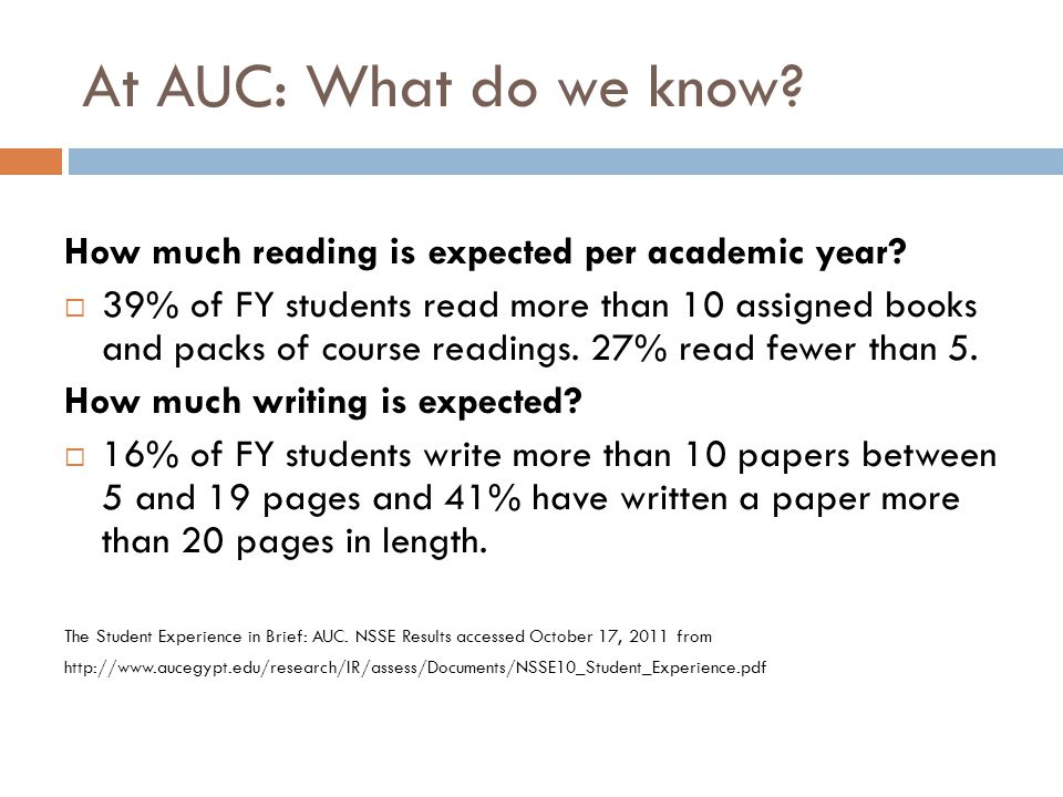 At AUC: What do we know? How much reading is expected per academic year? 39% of FY students read more than 10 assigned books and packs of course readi