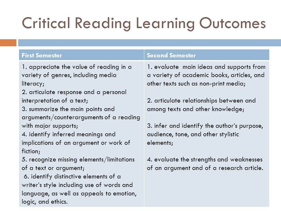 Critical Reading Learning Outcomes First SemesterSecond Semester 1. appreciate the value of reading in a variety of genres, including media literacy;