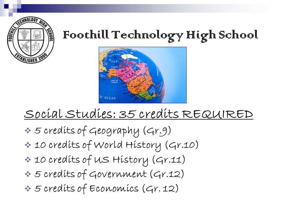Foothill Technology High School Social Studies: 35 credits REQUIRED 5 credits of Geography (Gr.9) 10 credits of World History (Gr.10) 10 credits of US History (Gr.11) 5 credits of Government (Gr.12) 5 credits of Economics (Gr.