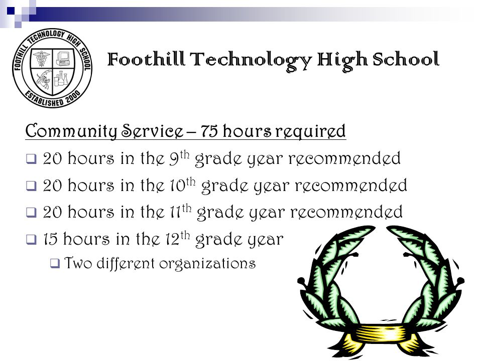 Foothill Technology High School Community Service – 75 hours required 20 hours in the 9 th grade year recommended 20 hours in the 10 th grade year rec