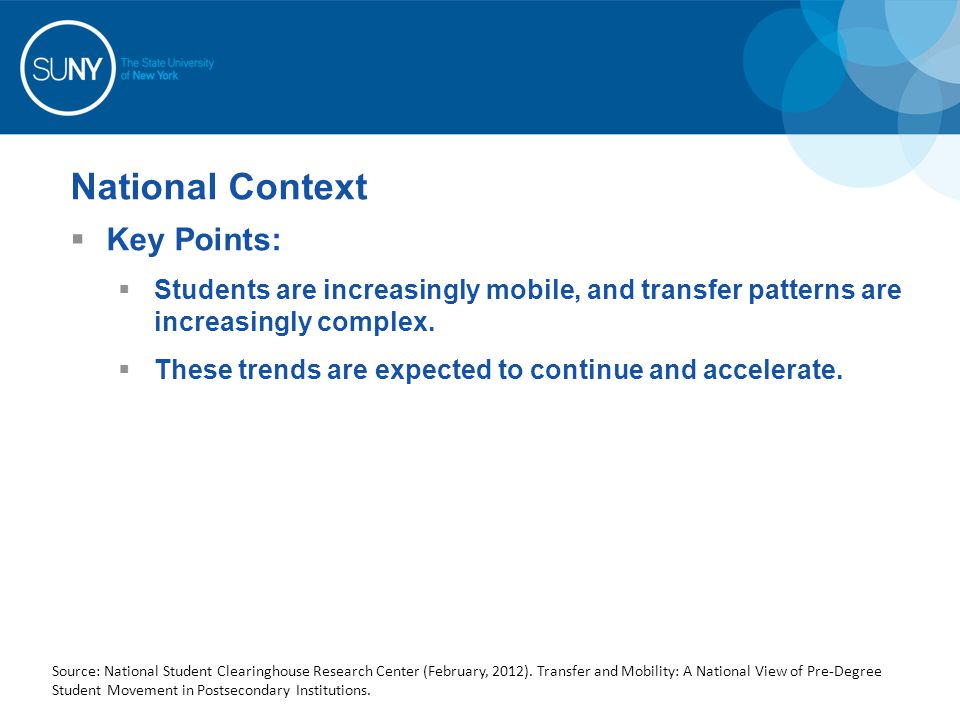 National Context Key Points: Students are increasingly mobile, and transfer patterns are increasingly complex. These trends are expected to continue a