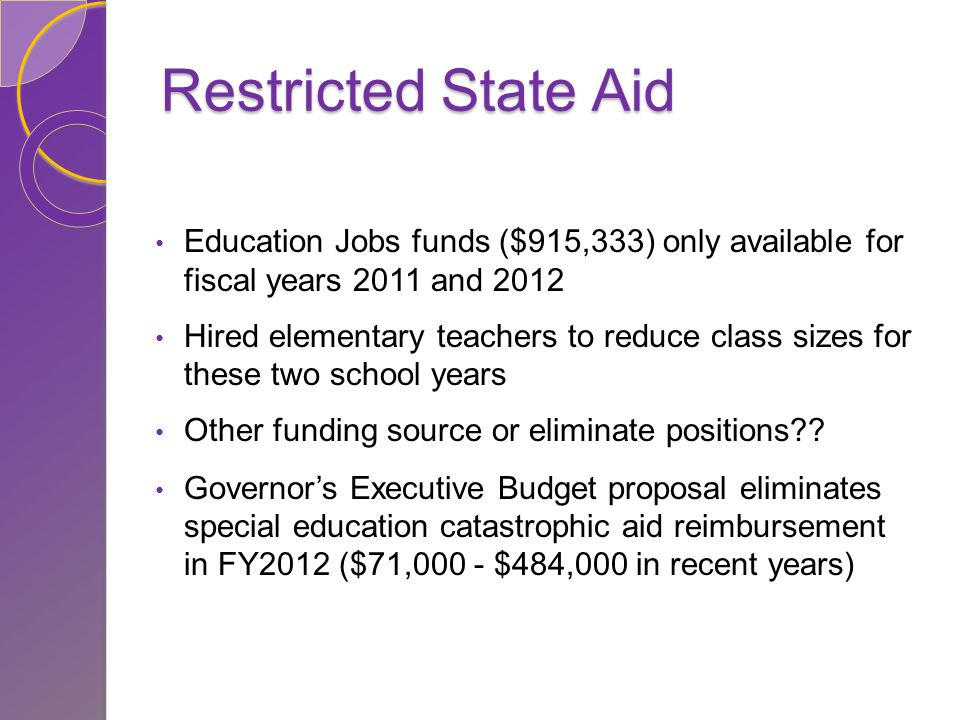 Restricted State Aid Education Jobs funds ($915,333) only available for fiscal years 2011 and 2012 Hired elementary teachers to reduce class sizes for these two school years Other funding source or eliminate positions .